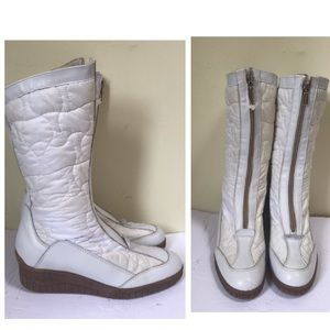 Aquatalia NEW Leather Nylon Front Zip Wedge Waterproof Winter Quilted Boots Snow